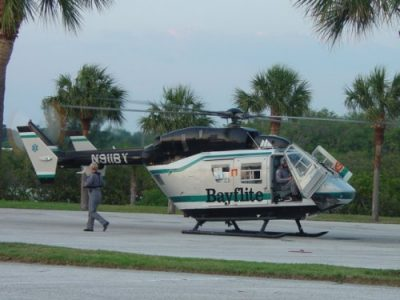 Bayflight helicopter arriving to aid PSFRD.